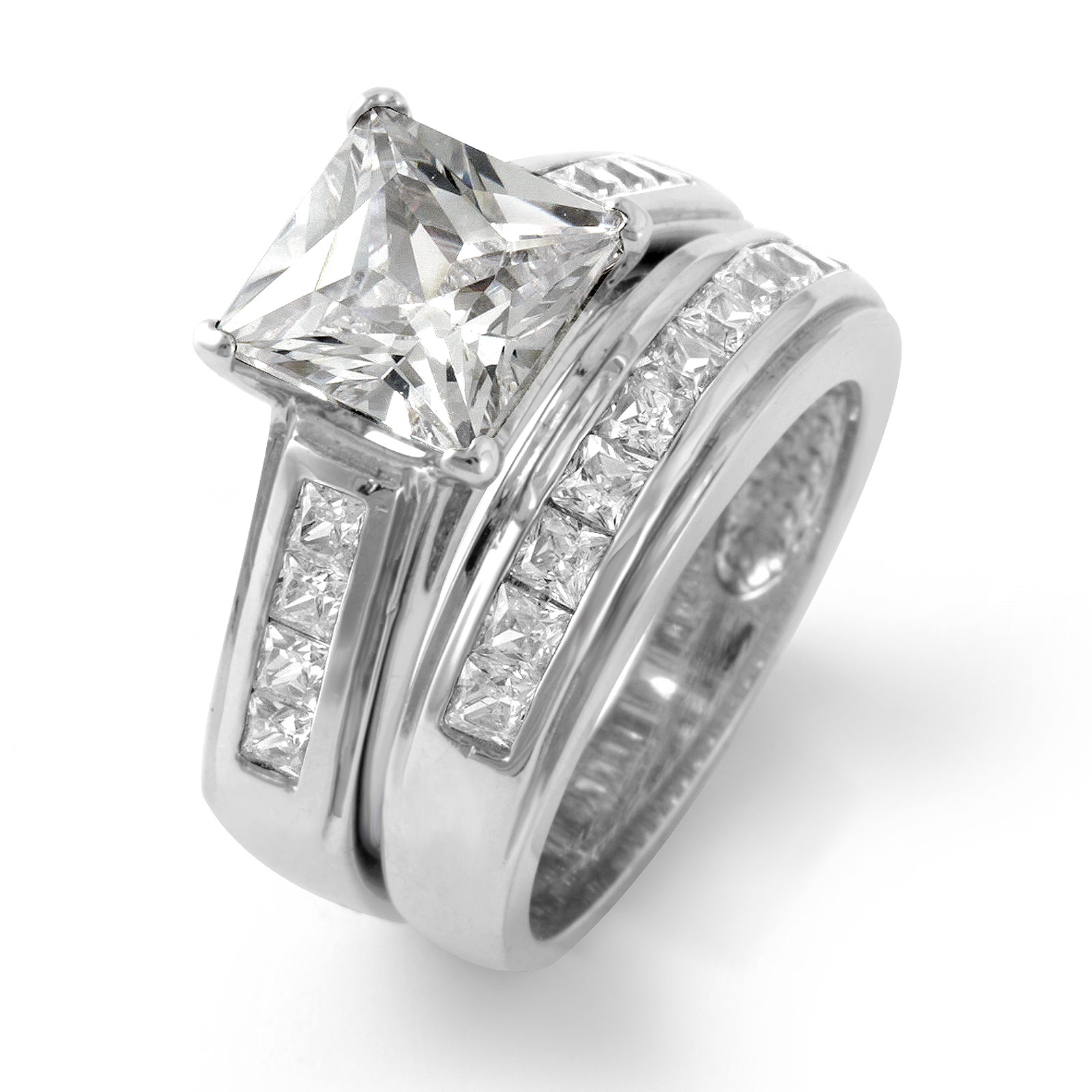 Princess cut cubic zirconia wedding bridal set engagement for Sterling silver cubic zirconia wedding rings