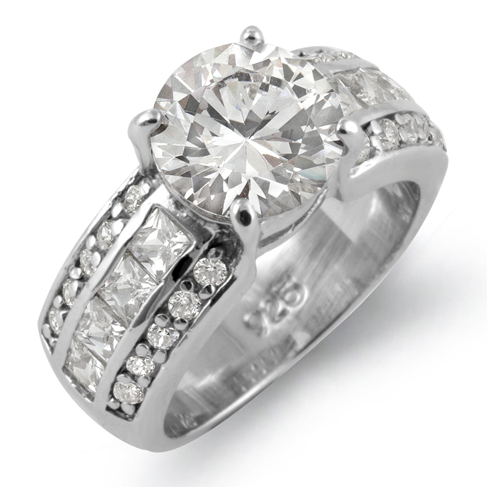 Round Princess Cubic Zirconia Solitaire Engagement Wedding Ring Sterling Silver
