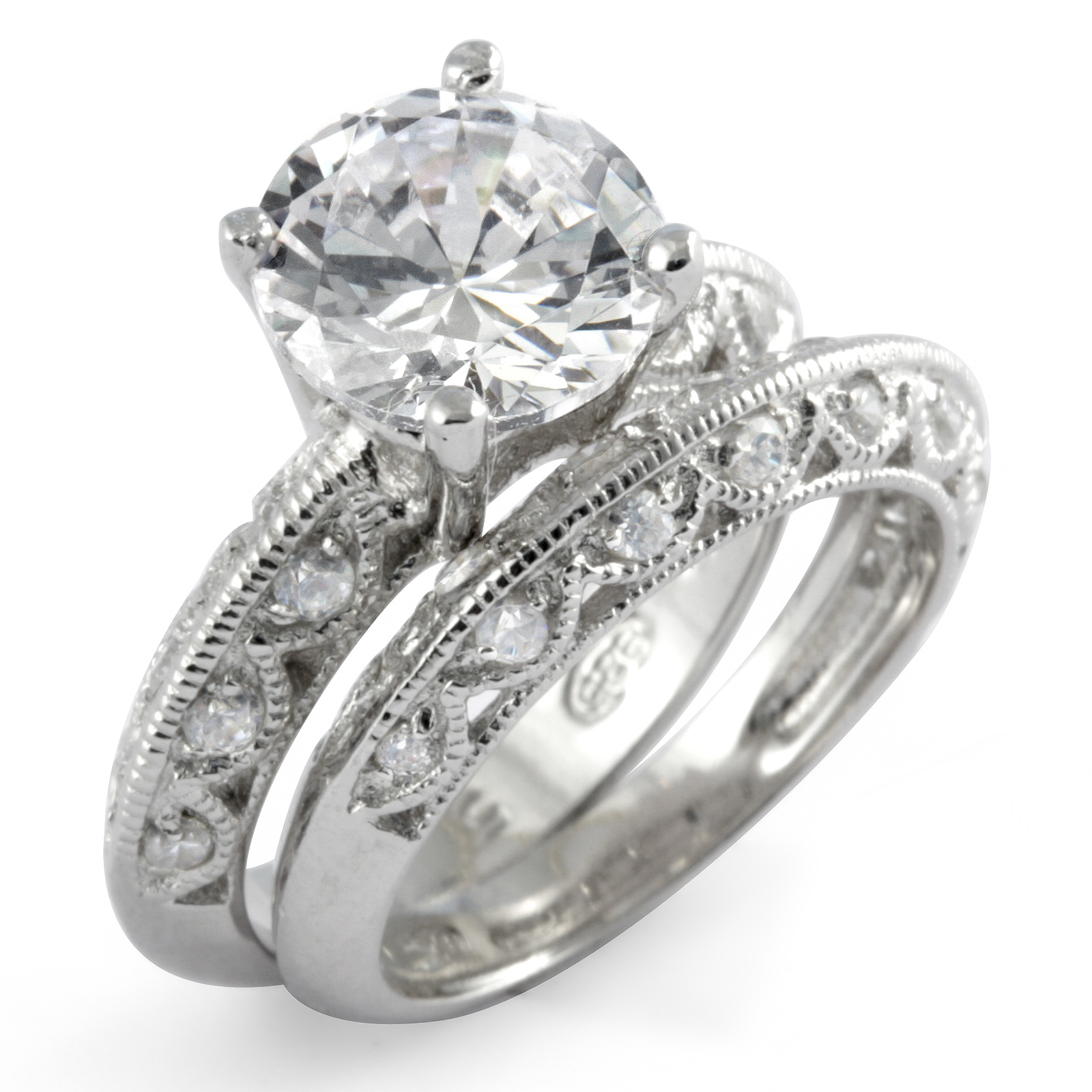 cubic zirconia bridal set wedding engagement ring