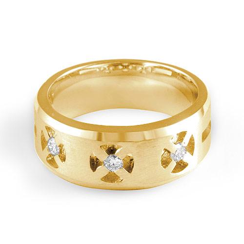 0 3Ct Mens 3 Stone F Round Diamond Wedding Band Rings 14k Gold Yellow VS1 SZ1